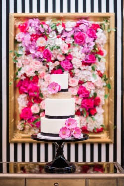 black and white and floral cake