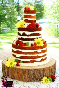 naked summer cake with fruit and flowers