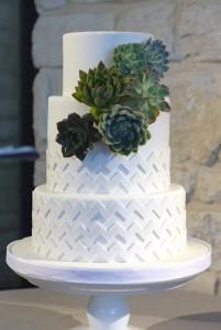 white cake with chevron