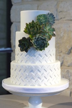 white cake with chevron