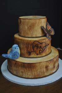 rustic cake with birds